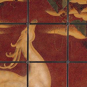 奥村霞城《鹿の図漆パネル》 Framed Panel: Deer