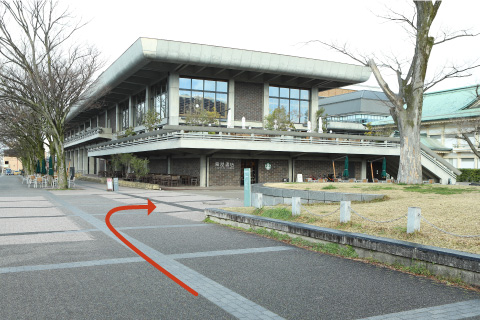 3. Turn right at the Starbacks and walk toward the end of the building.4. The building with the green Japanese style rooftop in front of you is Kyoto City Museum of Art Annex. It's located right next to The ROHM Theatre Kyoto.