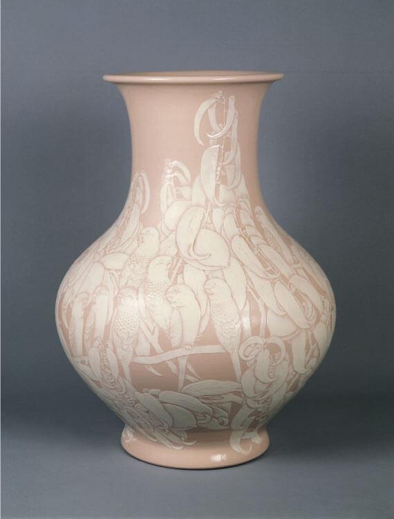 (五代)清水六兵衞(六和)《大礼磁仙果文花瓶》