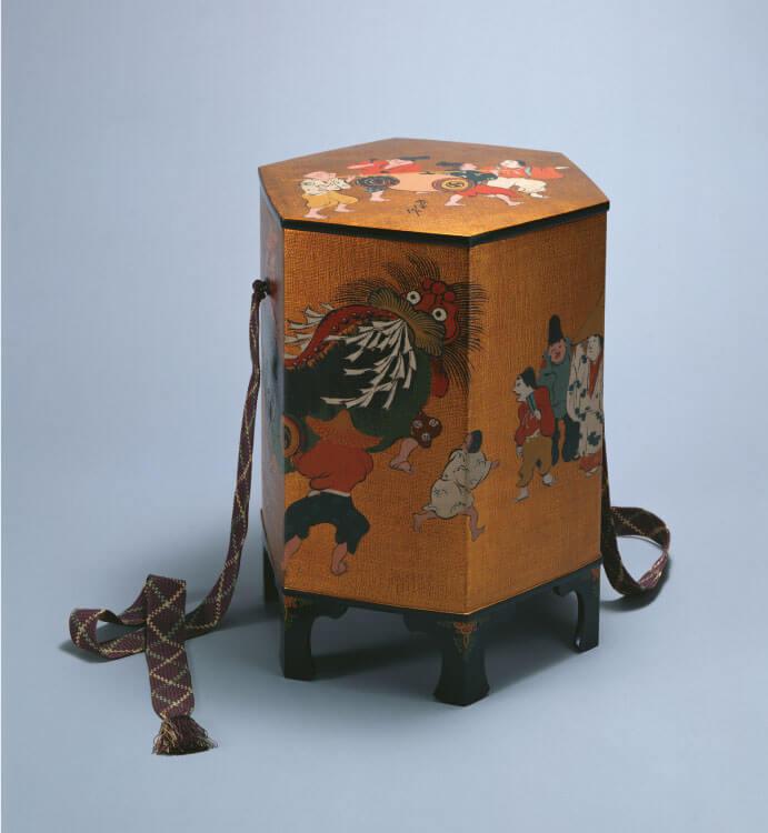 神坂雪佳《漆画人物祭礼之図飾箱》